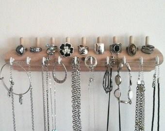 Jewelry Organizer Wall Necklace Holder, Jewelry Holder, Ring Holder, Earring Holder, Bracelet Holder. Unique OOAK Wood Jewlery Organizer.