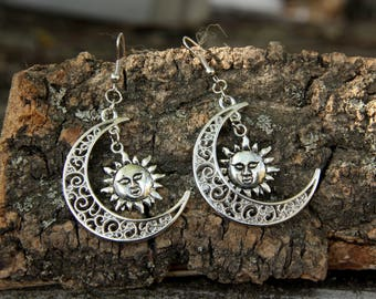 gift|for|women festival jewelry silver jewelry Wiccan jewelry sun moon jewelry sun moon earring Celestial Jewelry SUN jewelry hippie earring
