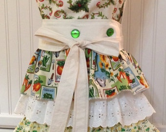 Vintage style full apron vegetable seed packs country toile ruffles holly berries and   reversible button on bodice