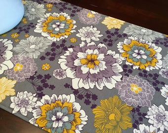 "Modern Floral Table Runner - 40"" Table Runner - Reversible Table Runner - Purple Runner - Purple Table Runner - Coffee Table Runner"