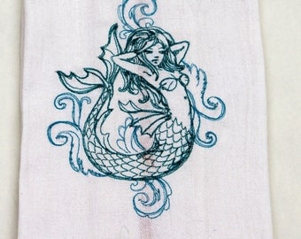 Mermaid  Embroidered Kitchen Towel // Dish Towel // Retro