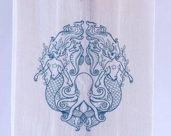 Mermaid Crest  Embroidered Kitchen Towel // Dish Towel // Retro