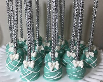 Tiffany Blue Cake Pops - Bling Stick