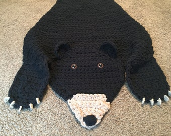 Black Bear Blanket (like mermaid tail) READY TO SHIP Bear Blanket
