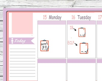 Itty Bitty or ECLP Doctor's Reminder Tracker Stickers Clipboard  To Use With Erin Condren Planner Kikkik A5 Midori Personal Mambi