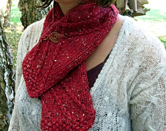 Hand  knit tweed scarf, brick red scarf, merino wool scarf, superfine alpaca scarf, Donegal tweed scarf, valentine's day, winter scarf