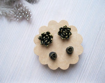 Gold earrings set Gold Rose stud earrings Gold post earrings Tiny studs Polymer clay jewelry Gold succulent jewelry Small Flower studs