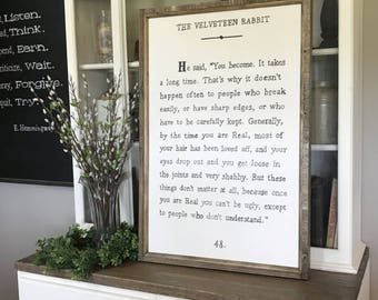 "Velveteen Rabbit Wood Framed Sign 24"" x 36"""