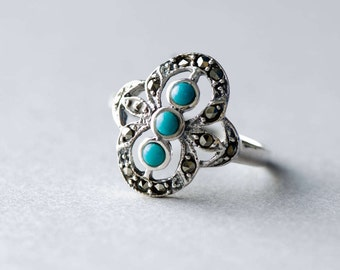 925 Three Stones Boho Ring, Sterling Silver Ring, Marcasite Ring, Turquoise Ring, Statement Ring, Gift For Her