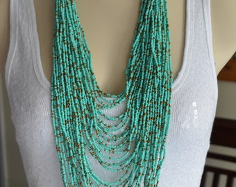 Turquoise and Bronze Seed Bead Wood beads Multi Strand Long Layered Necklace