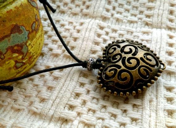 Large Hollow Filigree Heart Pendant Adjustable Black Waxed Cotton Necklace Antique Bronze Pendant Tibetan Silver Bead Love Heart