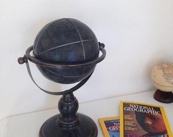 Vintage world globe, vintage leather globe, world globe in brown, Antique world globe