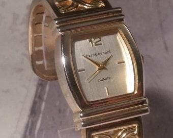 Women's Bracelet Watch, Gold Vintage Watch, Gold Wrap Watch, Gold Leaf Watch. Retro Women's Watch. Retro Ladies Watch. Havre Bernard, Gold