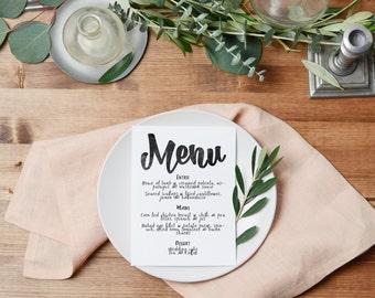 Wedding menu, printable menu, menu template, editable menu, menu printable, wedding printable