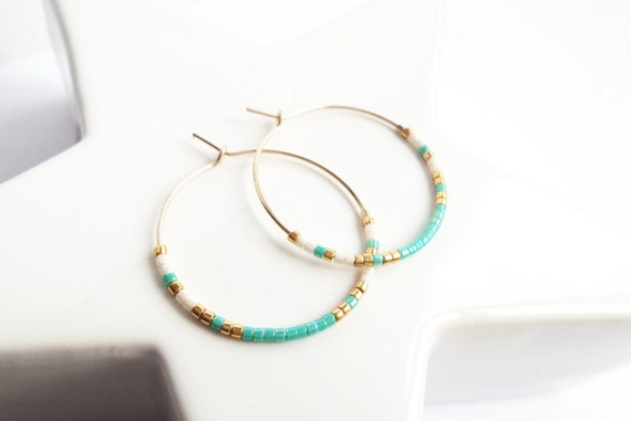 With small turquoise beads, Golden and white Creoles, rings quality minimalist 14-Karat GOLD plated thin delicate woman