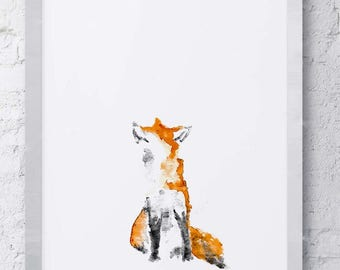 Abstract Watercolor Fox Print