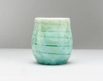 Unique Ceramic Tumbler, Coffee Tumbler, Handmade Tumbler, Tea Tumbler, Yunomi, Pottery Tumbler, Crystalline Ceramics, Green Tumbler