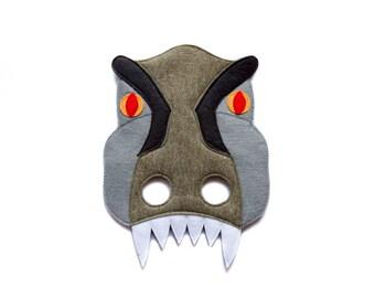 T-Rex mask, kids dinosaur mask, Indominus Rex mask, felt mask, adult Tyrannosaurus Rex costume, Jurassic World inspired, Halloween mask