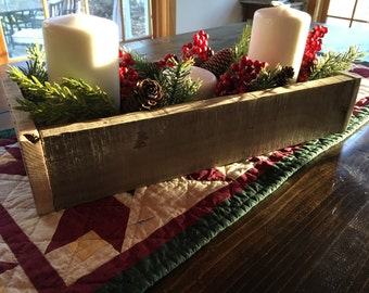 Rustic Wood Centerpiece, wedding centerpiece, reclaimed wood box, holiday centerpiece, wood planter box, table centerpiece