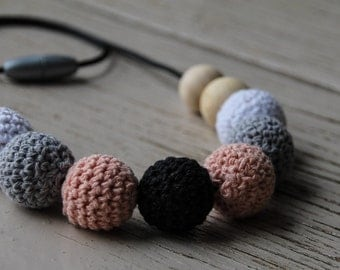 Crochet  and Wood Bead Necklace  ~ Peach White Grey Black ~ Teething Necklace