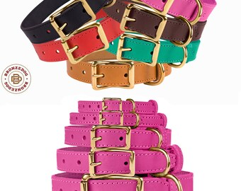 Leather Dog Collar Handmade Collars for Dogs with Brass Buckle Small Medium Large Red Black Pink Brown Green Purple
