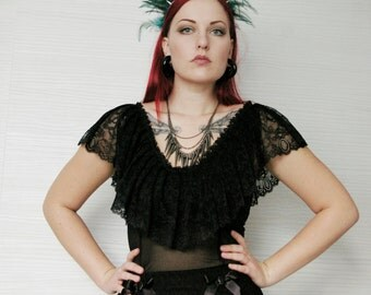Black victorian lace top / Edwardian top / Lace Ruffle Top