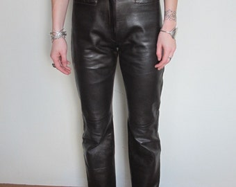 Vintage 80s High Waisted Brown Leather Pant