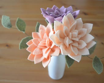 Felt Dahlia Single Stem (1) | Felt Flower Single Stem | Felt Dahlia Bouquet | Build Your Own Bouquet