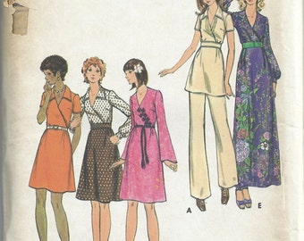 Butterick Sewing Pattern Vintage 6630 Womans Dress Tunic Pants Size 10 Bust 32.5 Unused Uncut From 1970s Surplice Neckline Flared Pants