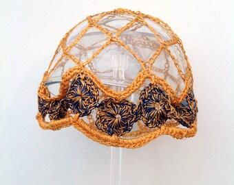 Rare 1920s crochet flapper hat skull cap vintage