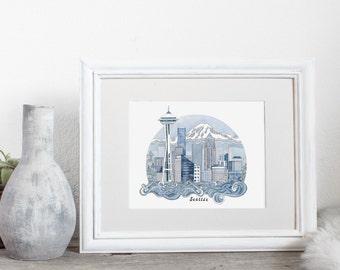 Seattle Art Print, City Illustration, City Print, Watercolor Art