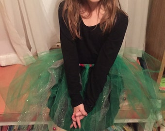 Green Jingle Bell Tutu, Green and Silver Tulle Tutu, Girl Tutu, Tulle Skirt, Hand Tied Tulle Skirt, Tulle Tutu, Girls Tulle Skirt