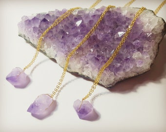 Crystal necklace, Raw amethyst necklace, Amethyst necklace, Crystal pendant necklace,Gift for her, Healing crystal, February birthstone