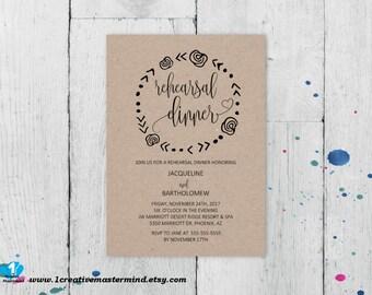 Wedding Rehearsal Dinner Invitation Template, Rehearsal Dinner Instant Download, Rehearsal Dinner Printable, Wreath Rehearsal Invitation,
