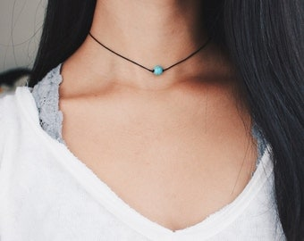turquoise natural stone beaded choker - turquoise bead, black cord, minimal, delicate, dainty