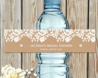 "Printable Floral Damask Kraft Look Water Bottle Labels, Bridal Wedding Shower; Personalized 8"" x 2"" Labels - Editable PDF, Instant Download"