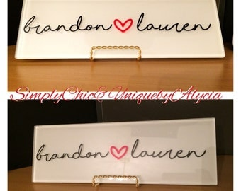Wedding present idea, couples name sign, love decor, anniversary present, wedding gift, personalized couples sign, glass tile sign