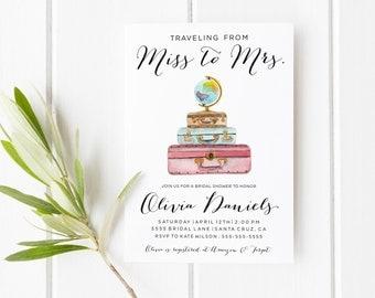 Travel Theme Bridal Shower Invitation, traveling from miss to mrs, Travel bridal shower invitations, vintage bridal shower invitation