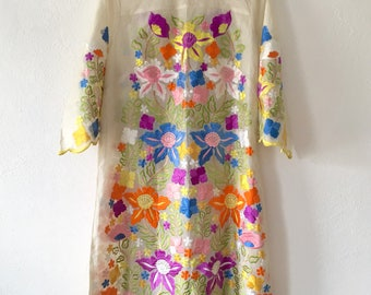 RARE Vintage Psychedelic 60's Embroidered Dress