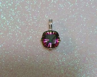 Mystic Quartz Pendant, Mystic Quartz Necklace, 10mm Square Cut Natural Mystic Quartz