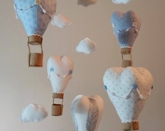 Nursery Mobile - Bedroom Mobile - Baby Mobile - Hot Air Balloon Mobile - Fabric Mobile - Cloud Mobile - Blue Mobile