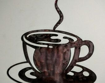 Coffee Cup Wall Hanging, Custom Metal Coffee Mug, Metal Art, Custom Metal Art, Coffee Mug with Saucer