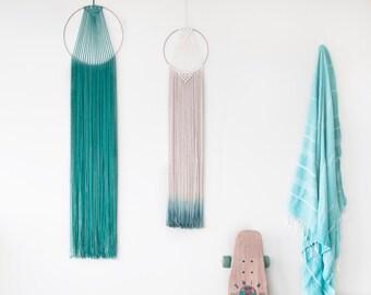 Dip Dye Macrame Hoop Wall Hanging / Teal Turquoise Copper Brass Metal / Ombre / Dip Dye / Modern Dream Catcher / Home Deco / Boho / Wall Art
