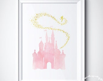 Disney Castle Print, Magic Princess Castle Art Print Poster, Fairy Watercolor Tinkerbell Rapunzel Castle Canvas Art, Girl Nursery Art