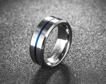 Mens Tungsten Ring With Blue Line, Mens Ring, Tungsten Wedding Band Ring, Mens Wedding Band, 8mm Band Width