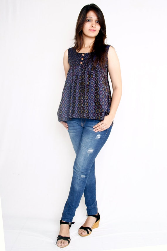 Silk Ikat Flare Tank Top With Geometric Pattern Motifs