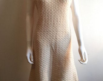 1960s Dress / Hand Crocheted / Cream / M