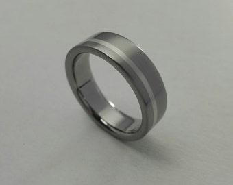 Handmade titanium wedding ring with sterling silver inlay, brushed titanium wedding band, mens wedding band, titanium ring mens
