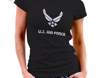 US AIR FORCE black T-shirt for women Tshirt 049 • Patriots •
