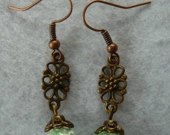 Copper earring with Green pearl